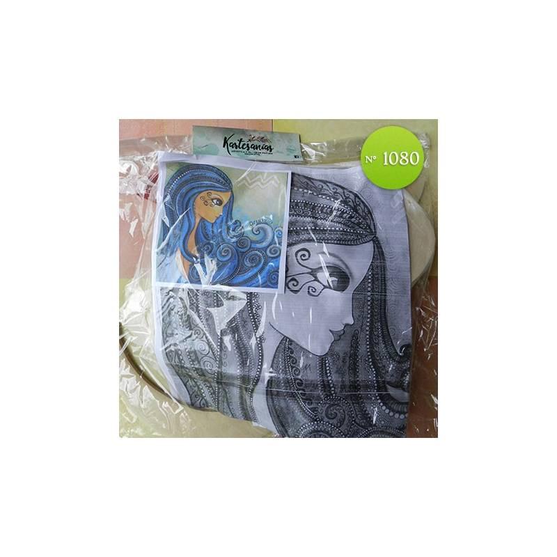 Mujer pelo azul 50 x 50cm - Kartesanias